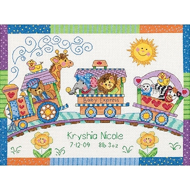 Baby Hugs Baby Express Birth Record Counted Cross Stitch Kit, 12