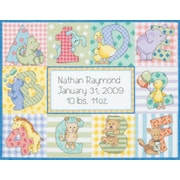 """Baby Hugs Zoo Alphabet Birth Record Counted Cross Stitch Kit, 12""""X9"""" 14 Count"""