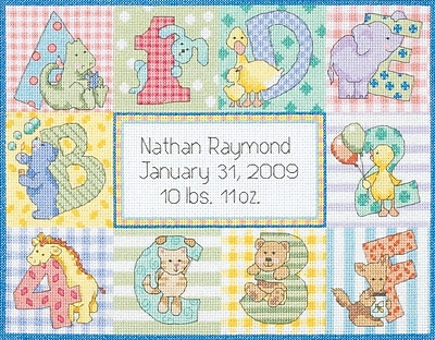 Baby Hugs Zoo Alphabet Birth Record Counted Cross Stitch Kit, 12