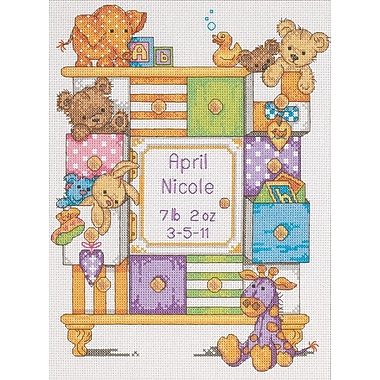 Baby Hugs Baby Drawers Birth Record Counted Cross Stitch Kit, 9