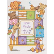 """Baby Hugs Baby Drawers Birth Record Counted Cross Stitch Kit, 9""""X12"""" 14 Count"""