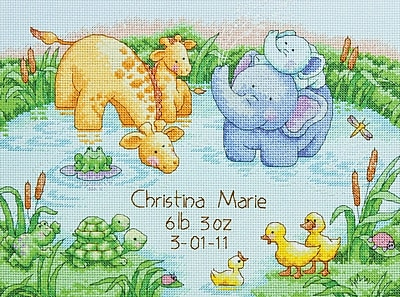 Little Pond Birth Record Counted Cross Stitch Kit, 12