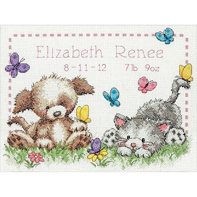 """""Pet Friends Baby Birth Record Counted Cross Stitch Kit, 12""""""""X9"""""""" 14 Count"""""" 32244"