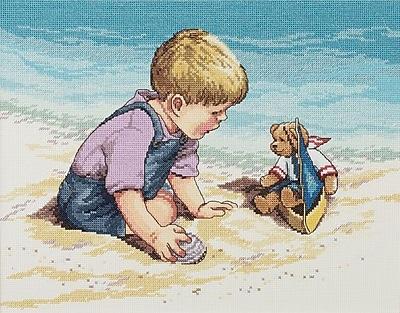 Seashore Fun Counted Cross Stitch Kit, 13-3/4