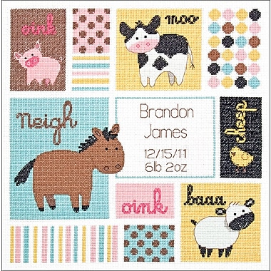 Baby Hugs Barn Babies Birth Record Counted Cross Stitch Kit, 12