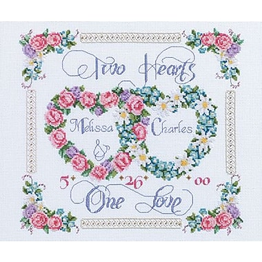 Two Hearts, One Love Counted Cross Stitch Kit, 14