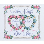 "Two Hearts, One Love Counted Cross Stitch Kit, 14""X12"" 14 Count"