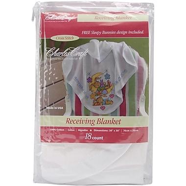 Receiving Blanket, White w/White Satin Binding