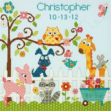 Baby Hugs Happi Backyard Birth Record Counted Cross Stitch Kit, 12