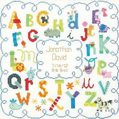 Baby Hugs Alphabet Birth Record Counted Cross Stitch Kit, 12