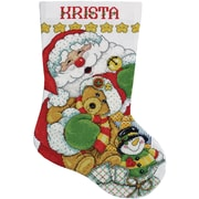 """Santa Stocking Counted Cross Stitch Kit, 17"""" Long 14 Count"""
