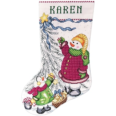 Trim A Tree Snowman Stocking Counted Cross Stitch Kit, 17