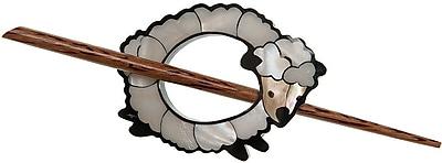 Inlaid Shell Shawl Pin, White Sheep
