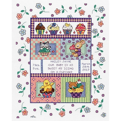 """""""""""Sweet As A Cupcake Birth Record Counted Cross Stitch Kit, 11-1/4""""""""""""""""X14-1/4"""""""""""""""" 14 Count"""""""""""" 29500"""
