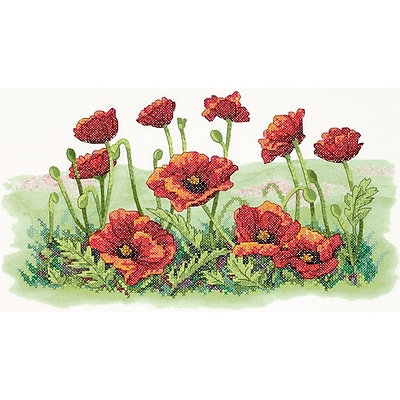 """""Field Of Poppies Stamped Cross Stitch Kit, 16""""""""X10"""""""""""""" 32281"