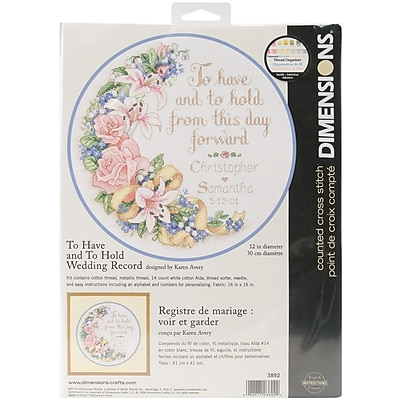 """""To Have And To Hold Wedding Record Counted Cross Stitch Kit, 12"""""""" Round 14 Count"""""" 33306"