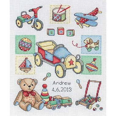 Boy Birth Record Counted Cross Stitch Kit, 9-1/2