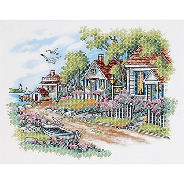 Cottages By The Sea Stamped Cross Stitch Kit, 14