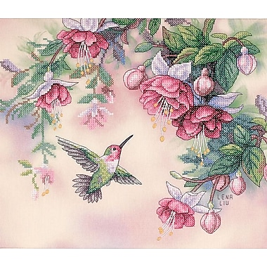 Hummingbird & Fuchsias Stamped Cross Stitch Kit, 14
