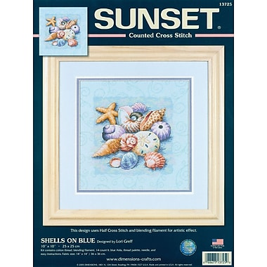 Shells On Blue Counted Cross Stitch Kit, 10