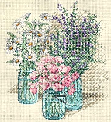 "Wildflower Trio Counted Cross Stitch Kit, 11""X12"" 14 Count"