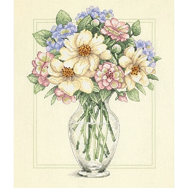 Flowers In Tall Vase Counted Cross Stitch Kit, 12