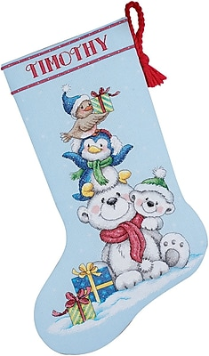 Stack Of Critters Stocking Counted Cross Stitch Kit, 16