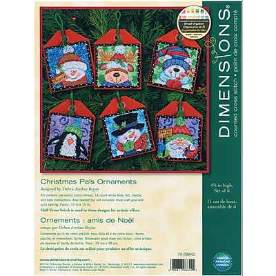 Christmas Pals Ornaments Counted Cross Stitch Kit, 4-1/2