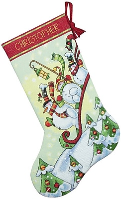 Sledding Snowmen Stocking Counted Cross Stitch Kit, 16