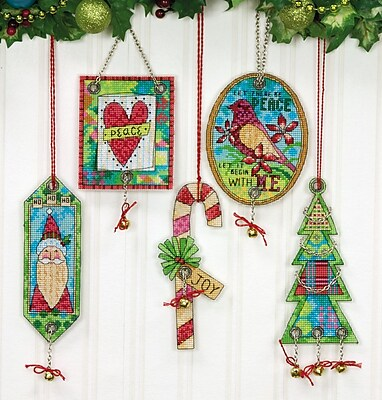 Jingle Bell Ornaments Counted Cross Stitch Kit, 8-1/4