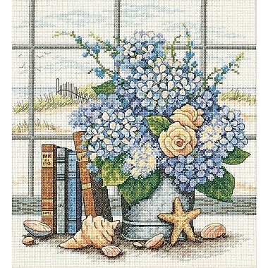 Hydrangeas And Shells Counted Cross Stitch Kit, 11