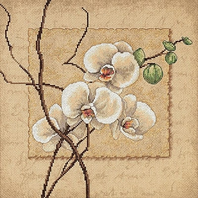 Oriental Orchids Counted Cross Stitch Kit, 12