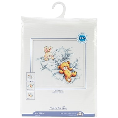 Baby W/Rabbit & Teddy Bear I Counted Cross Stitch Kit, 8