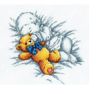 """Baby W/Teddy Bear Counted Cross Stitch Kit, 8""""X7-1/8"""" 14 Count"""