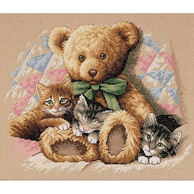 Teddy & Kittens Counted Cross Stitch Kit, 14