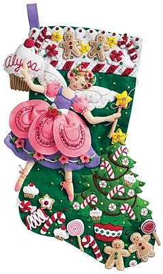 Sugar Plum Fairy Stocking Felt Applique Kit, 18
