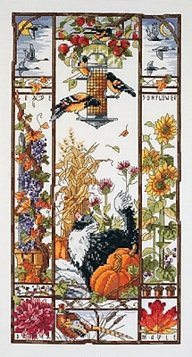 """""""""""Autumn Cat Sampler Counted Cross Stitch Kit, 8""""""""""""""""X16"""""""""""""""" 14 Count"""""""""""" 32105"""