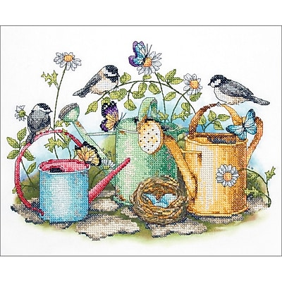 Watering Cans Stamped Cross Stitch Kit, 14