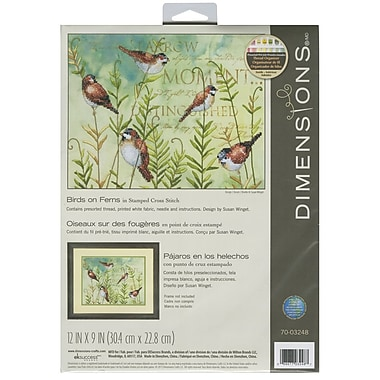 Birds On Ferns Stamped Cross Stitch Kit, 12