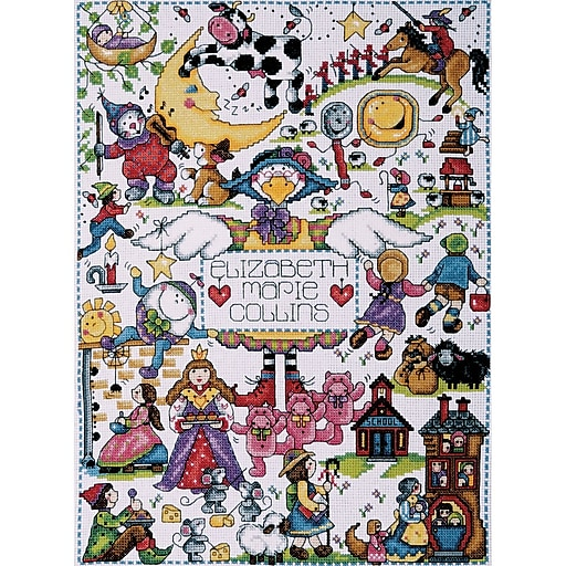 """Nursery Rhymes Counted Cross Stitch Kit, 11""""X15"""" 14 Count"""