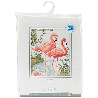 Flamingos Counted Cross Stitch Kit, 10-1/4