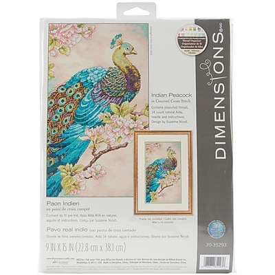 Indian Peacock Counted Cross Stitch Kit, 9