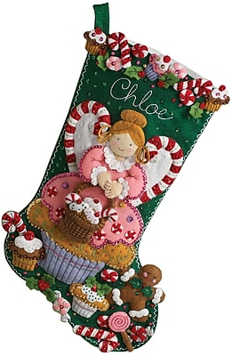 """""Cupcake Angel Stocking Felt Applique Kit, 18"""""""" Long"""""" 31600"