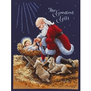 "Kneeling Santa Counted Cross Stitch Kit, 11""x14-1/2"" 14 Count"