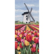 """Dutch Tulips Landscape Counted Cross Stitch Kit, 12-1/2""""X5-1/2"""" 16 Count"""