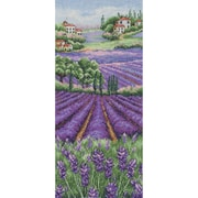 """Provence Lavender Landscape Counted Cross Stitch Kit, 12-1/2""""X5-1/2"""" 16 Count"""
