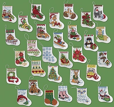 More Tiny Stockings Ornaments Counted Cross Stitch Kit, 2-1/2