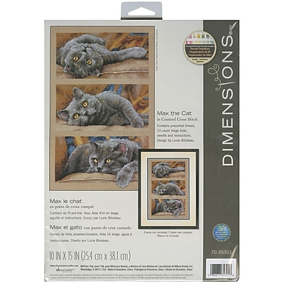 """""Max The Cat Counted Cross Stitch Kit, 10""""""""X15"""""""" 14 Count"""""" 32154"