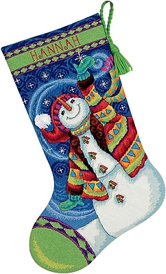 """""Happy Snowman Stocking Needlepoint Kit, 16"""""""" Long Stitched In Wool & Thread"""""" 32263"