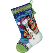 """Happy Snowman Stocking Needlepoint Kit, 16"""" Long Stitched In Wool & Thread"""